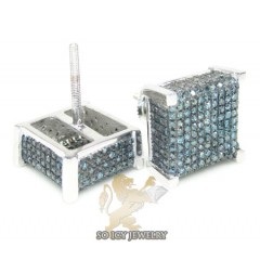 10k White Gold Blue Diamond 3-d Ice Cubes Earrings 1.00ct