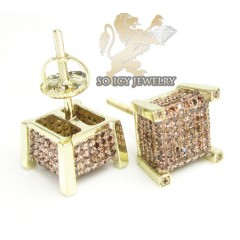 10k Yellow Gold Red Diamond 3-d Ice Cubes Earrings 0.85ct