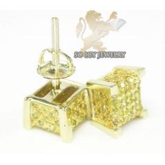 10k Yellow Gold diamond 3-d Ice Cubes Earrings 0.55ct
