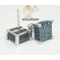 10k White Gold Blue Diamond 3-d Ice Cubes Earrings 0.75ct