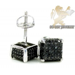 14k White Gold Black Diamond 3-d Ice Cubes Earrings 0.60ct