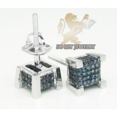 10k White Gold diamond 3-d Ice Cubes Earrings 0.30ct
