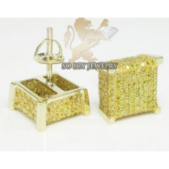 10k Yellow Gold diamond 3-d Ice Cubes Earrings 0.85ct
