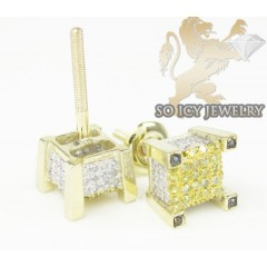 10k Yellow Gold diamond 3-d Ice Cubes Earrings 0.40ct