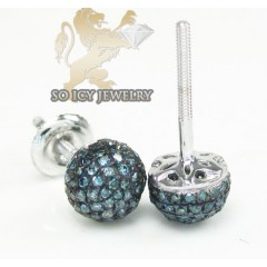 14k White Gold Sphere Blue Studs 0.35ct