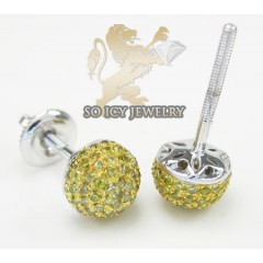 10k White Gold Sphere Canary Studs 0.35ct