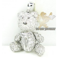 Teddy Bear Diamond 14k White Gold Pendant 1.90ct