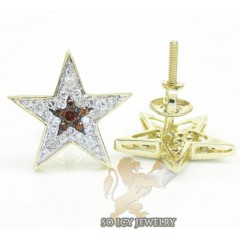 Unisex 14k Yellow Gold Diamond Pave Star Earrings 0.30ct