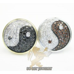 14k Yellow Gold Diamond Pave Ying Yang Earrings 0.70ct