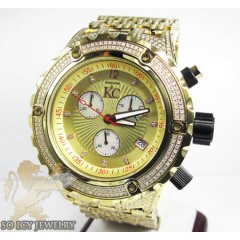 Mens Techno Com Kc Yellow Stainless Steel Fully Iced Out Diamond Xxl Watch 15.00ct