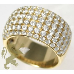 2.40ct Unisex 18k Solid Yellow Gold 6 Row Diamond Pave Thick Band