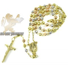 Rosary necklace 14k tri color gold diamond cut beads 30 inches 4.8 mm