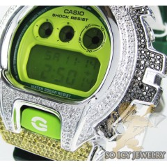 Mens Silver G-shock Diamond Neon Green Watch 4.00ct
