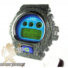 Mens Black Silver G-shock Diamond Light Blue Watch 4.00ct
