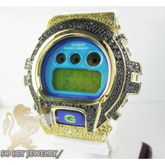 Mens Yellow Silver G-shock Diamond Light Blue Watch 4.00ct