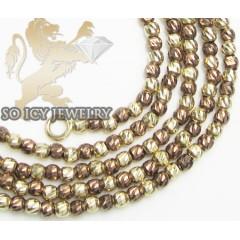 14k Brown & Yellow Gold Diamond Cut bead Chain 16-24 Inch 2mm
