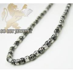 14k White & Black Gold Diamond Cut Bead Chain 18-24 Inch 2mm