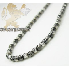 14k White & Black Gold Diamond Cut Bead Chain 18-24 Inch 2mm