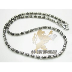 14k White & Black Gold Diamond Cut bead Anklet Bracelet 10 Inch 2mm