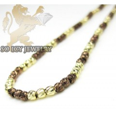 14k brown & yellow gold diamond cut bead chain 16-24 inch 2mm