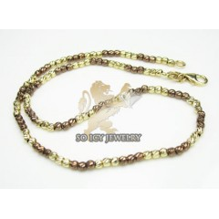 14k Brown & Yellow Gold Diamond Cut bead Anklet Bracelet 10 Inch 2mm