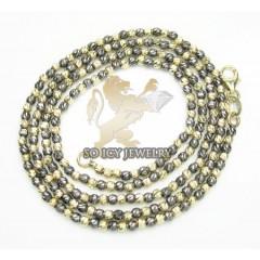14k Black & Yellow Gold Diamond Cut Bead Chain 16-24 Inch 2mm