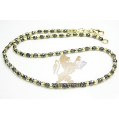 14k Black & Yellow Gold Diamond Cut bead Anklet Bracelet 10 Inch 2mm