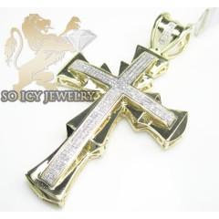 10k Yellow Gold Round Diamond Pave Cross 1.00ct