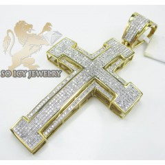 10k Yellow Gold Round Diamond Pave Stage Cross 1.95ct