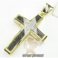 10k Yellow Gold Round Black Diamond Pave Cross 0.85ct