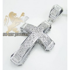 14k White Gold Round Diamond Pave Cross 0.95ct