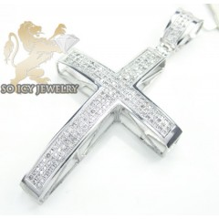 10k White Gold Round Diamond Pave Cross 0.85ct