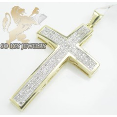 14k Yellow Gold Round Diamond Pave Cross 0.65ct