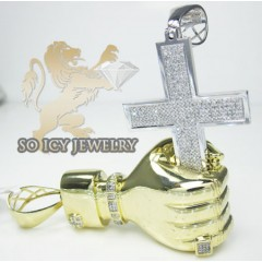 10k Yellow & White Gold  Diamond Hand Holding Cross Pendant 1.98ct