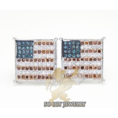 14k White Gold Diamond United States Flag Earrings 0.35ct