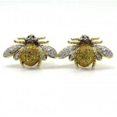 14k White Gold Diamond Bumble Bee Earrings 0.75ct
