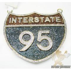 Interstate 95 Red & Blue Diamond 10k Yellow Gold Pendant 5.25ct