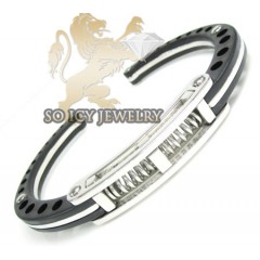 White Stainless Steel Black Handcuff Bracelet