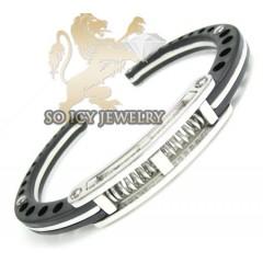 White stainless steel black handcuff bracelet