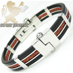 White Stainless Steel Red & Black Rubber Bracelet
