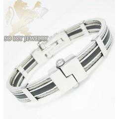 White Stainless Steel Black Rubber Link Bracelet