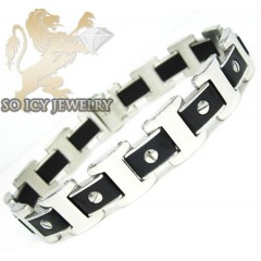 White Stainless Steel Black Screw Link Bracelet