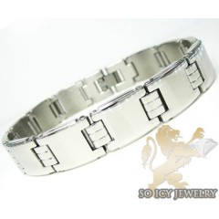 White Stainless Steel Square Link Bracelet