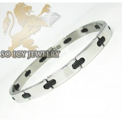 White Stainless Steel Rubber Link Bracelet