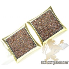 Red Diamond Earrings 10k Yellow Gold Mens 1.50ct