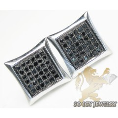 Black Diamond 5x5 Row Kite Shape Earrings 10k White Gold 0.40ct