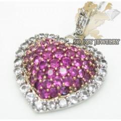 Pink Sapphire Heart Pendant 10k White Gold 1.00ct