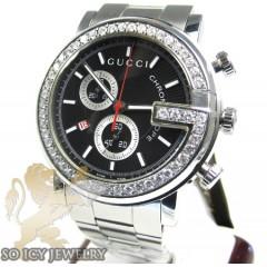 Diamond Gucci Chrono G Watch White Stainless Steel 2.00 Ct