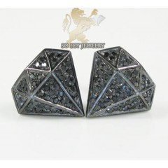 10k Black Gold Diamond Pave Diamond Earrings 0.35ct