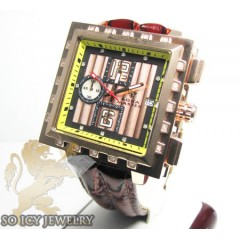 Mens Aqua Master Genuine Diamond Rose Square Watch 0.20ct